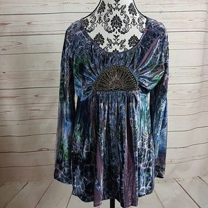 One World Velvet Embellished Tunic Top Sz L